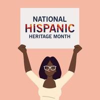 mois du patrimoine hispanique national avec dessin vectoriel de dessin animé femme noire