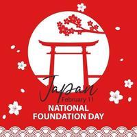 bannière de la journée nationale de la fondation du japon avec porte torii vecteur