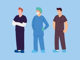ensemble d'infirmières agents de santé masculins vecteur
