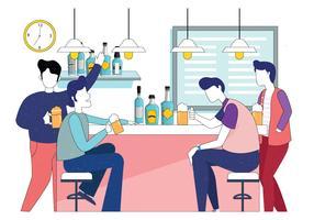 Les gars boivent de la bière dans le vecteur de bar
