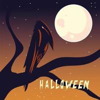 carte d'halloween avec pleine lune et corbeau vecteur