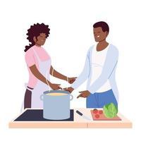 couple de personnes préparant la soupe sur fond blanc vecteur