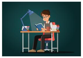 Guy lisant un livre vecteur