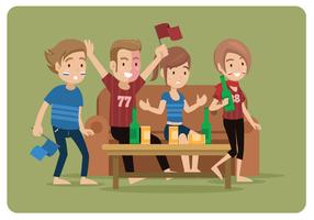 Groupe, regarder, football