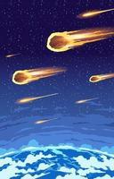 pluie de météorites tombant vecteur