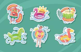 bonjour collection d'autocollants de natation d'été vecteur