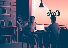 Rencontre au café vecteur