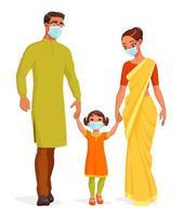 heureuse famille indienne souriante portant des masques et main dans la main illustration vectorielle vecteur