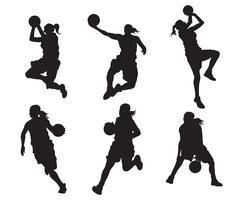 Silhouette de joueur de basket féminin vecteur