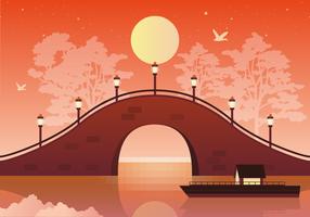 Illustration de pont de paysage de vecteur
