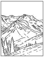 Sommet du mont olympus recouvert de glacier dans le parc national olympique situé à Washington State United States mono line ou monoline dessin au trait noir et blanc vecteur