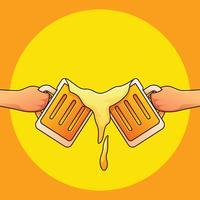 Les gars portant un verre de bière