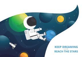 Cartes d'encouragement avec texte positif et espace extra-atmosphérique, planète, étoiles dans des styles créatifs vecteur