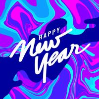 Bonne année Instagram Post avec fond de marbre vecteur