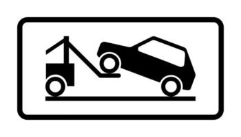 panneau routier parking interdit dépanneuse travaillant tableau d'avertissement de vecteur noir et blanc