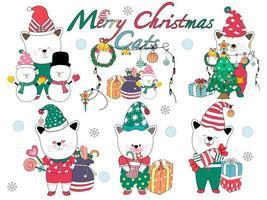 joyeux noël chats mignons. pour les décorations de Noël, les cartes, les motifs de t-shirts, les cadeaux, l'impression numérique, les impressions sur tissu, le papier numérique, les autocollants, les ornements de porte-clés, les tasses, les arts pour enfants, le bricolage et plus encore vecteur