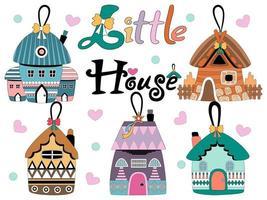 petites maisons colorées conçues pour les cartes, les décorations de cadeaux, les ornements, les conceptions de t-shirts numériques, les tissus imprimés en papier, les couvertures d'art de Noël pour enfants, les décorations d'arbres de Noël, les motifs de tasse et plus encore vecteur