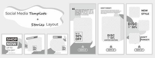 ensemble de modèles de bannières carrées modifiables pour les histoires de médias sociaux de vente de mode. fond de forme de couleur jaune et blanc. grande promotion de vente. vente à prix réduit de publicité vectorielle. vecteur
