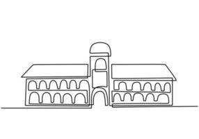 bâtiment classique avec des colonnes dans un style de dessin continu à une ligne. architecture typique des logements gouvernementaux, judiciaires, universitaires ou muséaux. design linéaire noir isolé sur fond blanc. vecteur