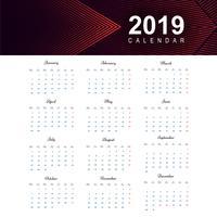 Calendrier 2019 Vecteur de conception de modèle