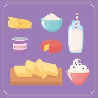 lait, produits laitiers, dessin animé, icônes, ensemble, fromage, yaourt, beurre, boisson vecteur