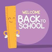 bannière de retour à l'école, modèle de retour à l'école coloré, règle vecteur