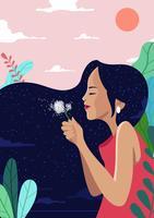 Illustration de fille avec des fleurs vecteur