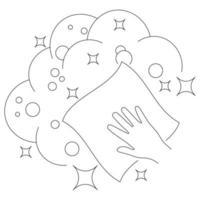 icône linéaire de serviette de nettoyage. nettoyage et désinfection des locaux. désinfection de toutes les surfaces. lingettes de surface. trait modifiable. symbole de contour. signe d'assainissement et d'hygiène. vecteur