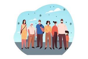 des personnes de tous âges portant des masques médicaux se tiennent ensemble vecteur