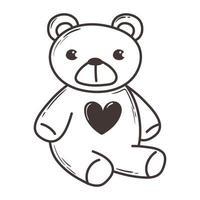 ours en peluche jouet amour coeur romantique doodle icône design vecteur