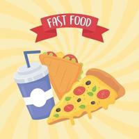 restauration rapide, pizza sandwich et soda avec affiche de paille vecteur