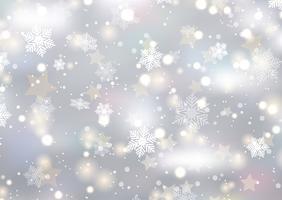 Fond de Noël de flocons de neige et d'étoiles vecteur