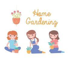 jardinage à la maison, ensemble de filles avec des plantes en pot et pelle vecteur