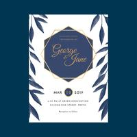 Modèle d'invitations de mariage floral aquarelle cadre géométrique vecteur