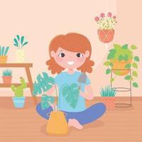 jardinage à la maison, fille avec pelle et plantes d'intérieur en pots vecteur