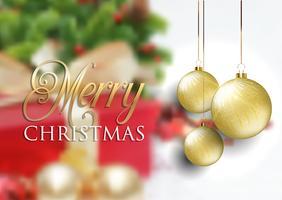 Boules de Noël sur fond défocalisé vecteur