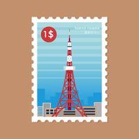 Timbre-poste de la tour de Tokyo vecteur