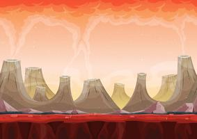 Paysage de planète de volcan sans soudure pour le jeu d'interface utilisateur vecteur