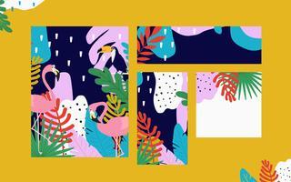 Jungle tropicale feuilles fond de cartes avec flamants roses et toucan