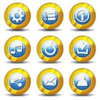 Jeu d'icônes d'or pour l'interface utilisateur vecteur
