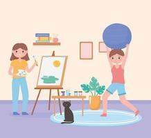 scène de routine quotidienne, fille peignant sur toile et femme pratiquant l'exercice à la maison vecteur