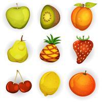 jeu d'icônes de fruits dessin animé vecteur