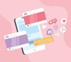 smartphone chat message sms partage de caméra suivre, système de communication de réseau social et technologies vecteur