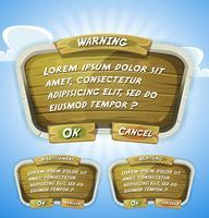 Panneau d'accord en bois de dessin animé pour le jeu de l'interface utilisateur vecteur