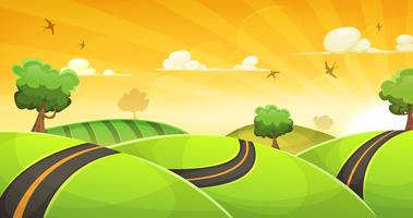 Paysage de dessin animé avec route et soleil brillant vecteur