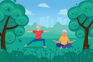 des personnes âgées font des exercices dans le parc, une femme fait du yoga, un homme est assis en lotus et médite. vecteur