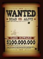 Wanted Vintage Poster sur parchemin vecteur