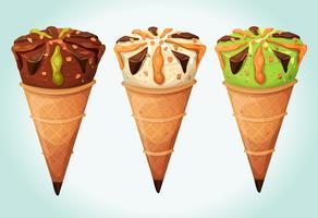 Ensemble de cornets de crème glacée classiques vecteur