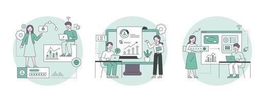 illustration de marketing d'entreprise. icônes d'affaires et experts analysant les données. contour simple illustration vectorielle. vecteur