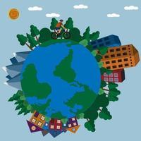 illustration du voyage d'un cycliste autour de la terre vecteur